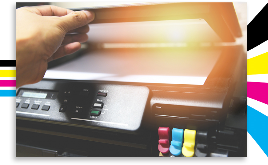 Image of hand opening a printer